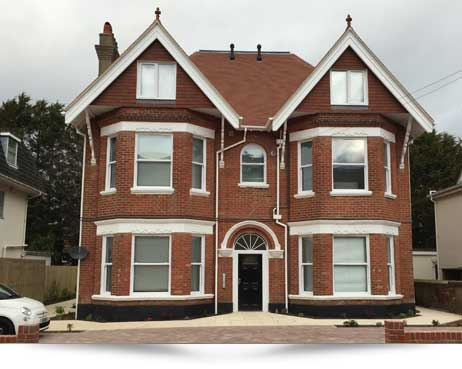 Boscombe. Conversion from HMO house, into 9 x 1 bedroom flats with new extension built on rear.
